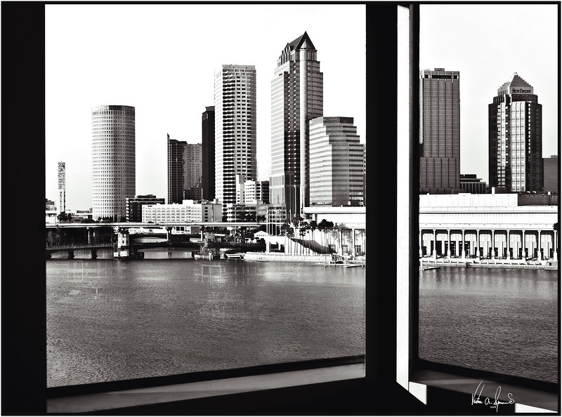 TAMPA BAY SKYLINE THROUGH A WINDOW