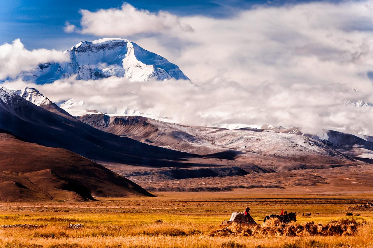 Mt. Cho Oyu as seen from Tingri Town, Tibet