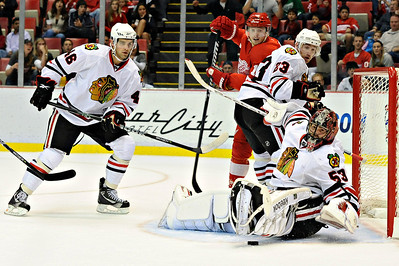 Sep 25, 2011; Detroit, MI, USA; Chicago Blackhawks goalie Alexander Salak (53) makes a save during the second period against the Detroit Red Wings at the Joe Louis Arena. Mandatory Credit: Tim Fuller-US PRESSWIRE