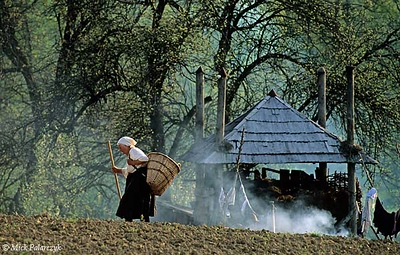 [ROMANIA.MARAMURES 23.827] 'Returning home.' After a day's work in the field a farmer's wife returns home to her house in Hoteni. Photo Mick Palarczyk.