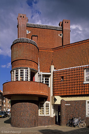 "[Amsterdam-5425]	 Amsterdam: housing project  Het Schip (1919) at Hembrugstraat in ""Amsterdamse School"" style by architect M.de Klerk. Photo Mick Palarczyk."