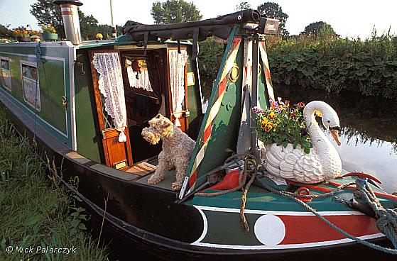 [BRITAIN.ENGMIDDLE 22.220] 'Boat menagerie.'	 Modern owners of narrow boats enjoy decorating their vessels just as much as their 19th. century predecessors, as can be seen here on the Staffordshire & Worcester Canal near Bratch. Photo Mick Palarczyk.
