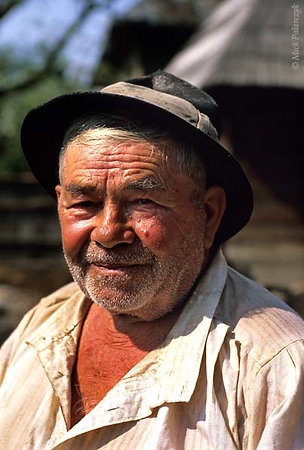 [ROMANIA.MARAMURES 23.765] 'Villager of Botiza.'	 Botiza is an isolated village in the Carpathians 25 km south of the Ukraine border. Photo Mick Palarczyk.