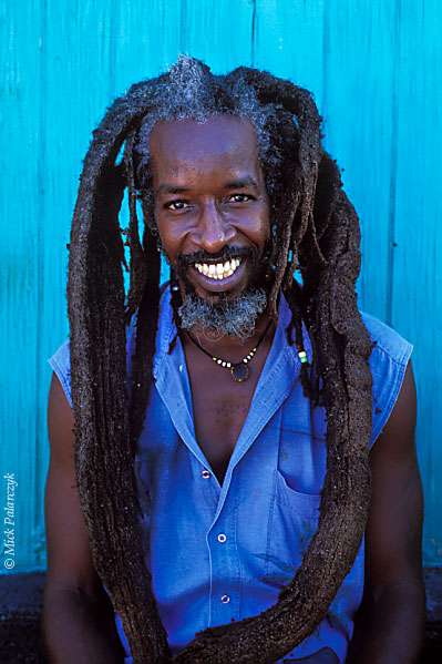 "[ANTILLES.stMAARTEN 25.693] 'Ras Bushman.'	 In Philipsburg, Ras Bushman runs a vegetarian restaurant called ""Freedom Fighters Ital Shack"". Photo Mick Palarczyk."