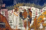 [RUSSIA.GOLDENRING 26.166]<br /> 'Leaving paradise.'<br /> <br /> While in the scene on the right Adam is still happily conversing with the animals, the central scene shows God gently handing the clothes Adam and Eve will have to wear in future. The paradise they have to leave is a brilliantly white space with fountain like trees overarched by a huge heavenly eyebrow. This gripping visualization of biblical scenes was created by unknown 17th century artists in the southern vestibule of Tutayev's Resurrection Cathedral. Photo Mick Palarczyk.
