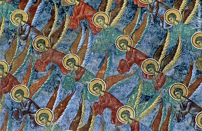 <h4>[ROMANIA.MOLDAVIA 24.109] <br>'Angelic order.'</h4> Angels on the heavenly blue north wall of Sucevita monastic church fly in mathematical order. Photo Mick Palarczyk.