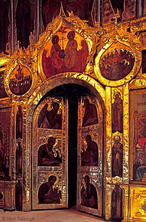 [RUSSIA.GOLDENRING 26.003]<br /> 'Iconostasis door.'<br /> <br /> Central door in the 17th century iconostasis of Suzdal's Nativity Cathedral. Among the icon-painters was Grigory Zinovyev, one of the tsar's most gifted artists. The iconostasis separates the nave from the sanctuary in an Orthodox church. Photo Mick Palarczyk.