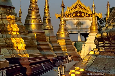 <h4>[BURMA 24.693] <br>'Golden meditation.'</h4> The terrace around the Naungdawyi Stupa in the north-eastern corner of Yangon's Shwedagon temple is open only to meditating men. Photo Mick Palarczyk.