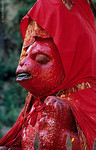 [NEPAL.KATHMANDUVALLEY 27298]<br /> 'Red Hanuman on Gauri Ghat.'<br /> <br /> Owing to his ability to ward of evil spirits, the Hindu monkey god Hanuman is one of the most popular gods in Nepal. His statues are often covered in vermilion paste and clad in a red or yellow robe. This fierce looking example can be found on Gauri Ghat near Kathmandu's Pashupatinath Temple. Photo Mick Palarczyk.