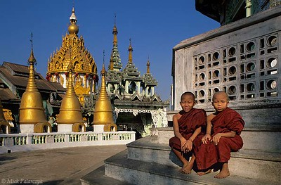 <h4>[BURMA 24.710] <br>'Monks at Insein.'</h4> Young Buddhist monks on the central square of the Ah Lain Nga Sint Pagoda at the village of Insein, north of Yangon. Photo Mick Palarczyk.
