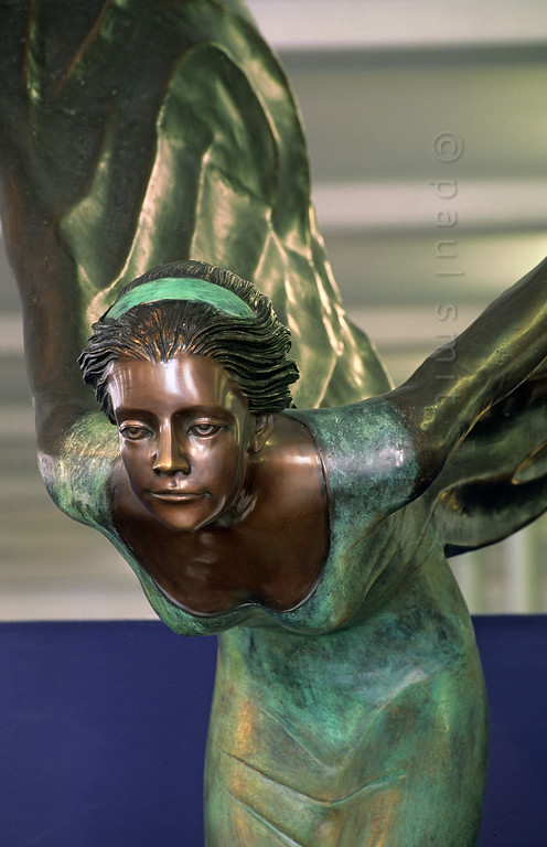 [AUSTRIA.VORARL 00909] 'Spirit of Ecstacy.'  Better known as the Flying Lady, she is the car mascot on every Rolls Royce. The Rolls Royce museum in Dornbirn possesses this life size beauty, also made by sculptor Charles Robinson Sykes. Eleanor Thornton posed for it, the secret lover and secretary of John Walter Edward Douglas-Scott-Montagu, a pioneer of the automobile movement and editor of The Car magazine from 1902. It was he who commissioned Sykes for the Rolls Royce mascot. Photo Paul Smit.
