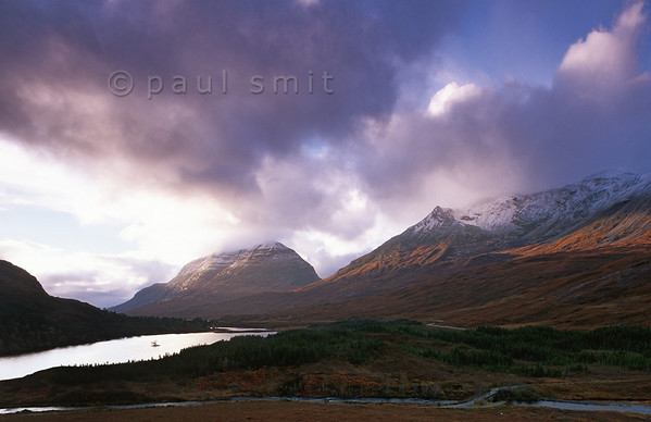 [GREATBRITAIN.SCOTLAND 11022] 'Loch Clair near Torridon.'  Wester Ross is one of the wildest regions of Scotland and known for its Torridon Mountains. Loch Clair is flanked by Liathach in the distance and Beinn Eighe at right. Photo Paul Smit.