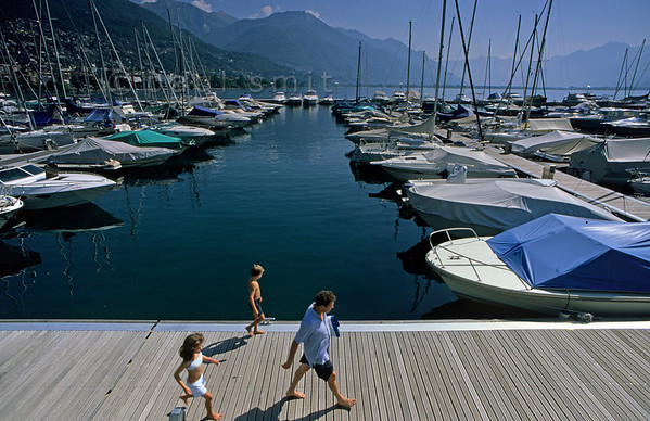 [SWITZER.TICINO 01349]  'Port of Locarno.'  The pleasure port of Locarno at the Lago Maggiore. Photo Paul Smit