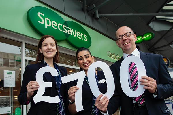 Specsavers Sutton Coldfield - Donated £700 to the Kelli Smith Appeal - L to R - Joy Bannister, Shazia Bi, Tim Goodhew (Store Director)