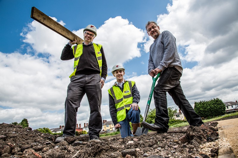 George Rose Community Garden, Herberts Park Road, Darlaston - L to R - Matt Stevens (Senior Engineer, Kier Construction), John Garrood (Kier Construction Work Experience), Sean Ghosh (Chairman Residents Association)