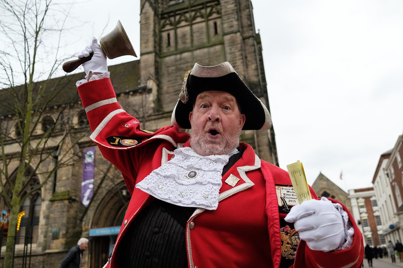 Lichfield Pancake Day Celebrations - Lichfield Town Crier, Ken Knowles