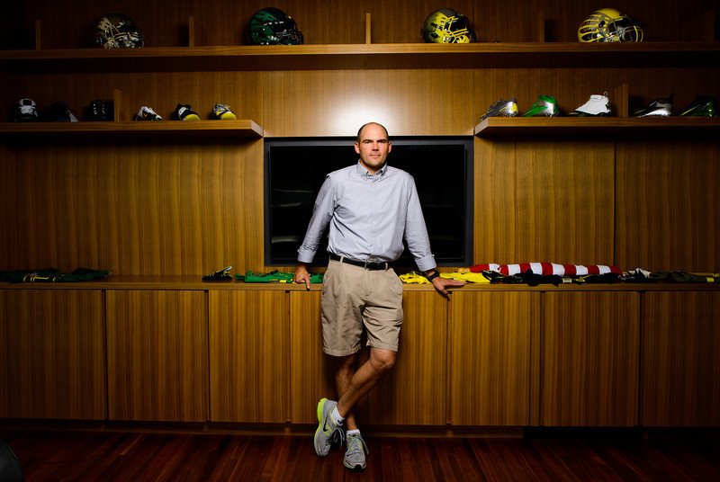 Oregon Ducks football head coach Mark Helfrich in his office on the fifth floor in the new Hatfield-Dowlin complex in Eugene, Ore.