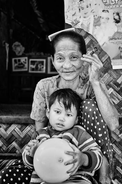Portrait of a grandmother and granddaughter in Yangon, Myanmar