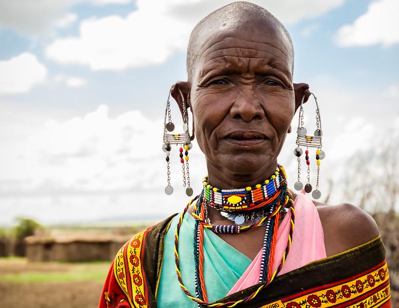 Maasai woman at her home camp in the Upper Mara, Kenya