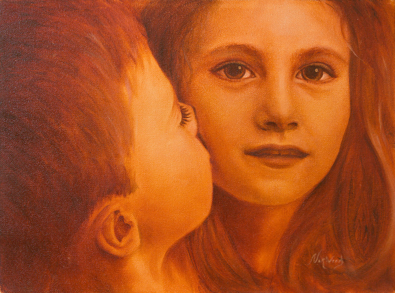 The Kiss<br /> 9x12<br /> Oil on canvas