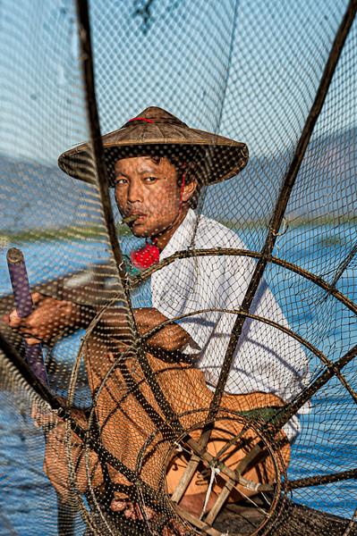 Portrait of a fisherman at Inle Lake, Myanmar