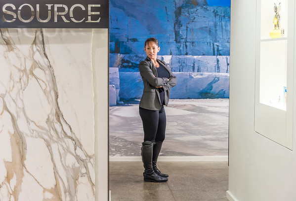 Editorial portrait of Tai at the Stone Source showroom in New York City.
