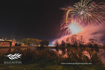 Fireworks explode in the night sky above Enniskillen.  Picture: Ronan McGrade