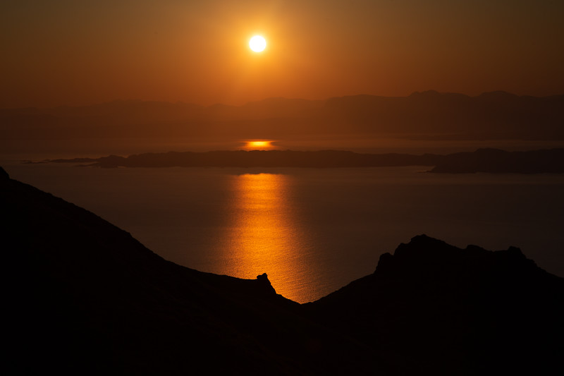 Sunrise over the Isle of Raasay, Inner Hebrides, from the Isle of Skye