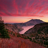 A fiery autumn sunset over Mount St. Helens and Spirit Lake, as seen from high in the Mount Margaret Backcountry, Cascade Mountains, Washington