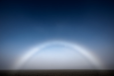 A fogbow momentarily appears above an open field at sunrise, Silverton, Oregon