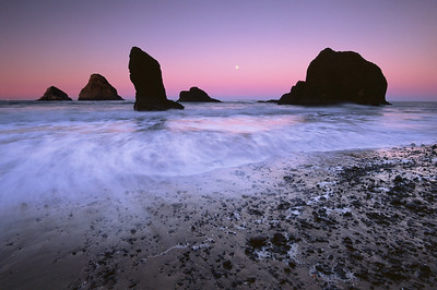 Moonset over Three Arch Rocks