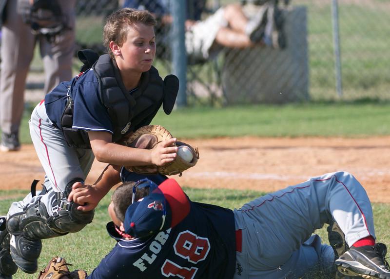 Image © 2010 Ralph Mawyer, Jr.   Kerrville Indians catcher catching pop-up foul ball vs San Antonio Devils (Under 12), 5 Jun 2010, Boerne, Texas.