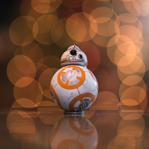 BB8 on my kitchen counter, with the Christmas tree in the background