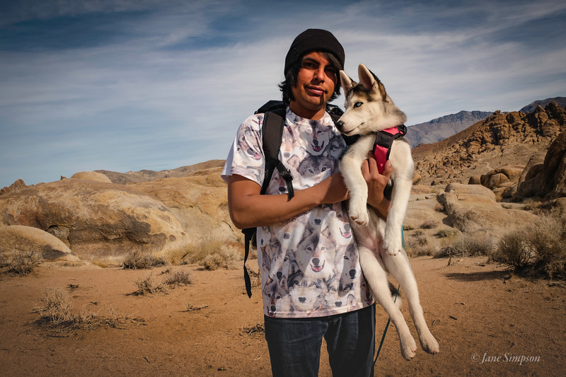 Boy and his Husky, Alabama Hills, CA