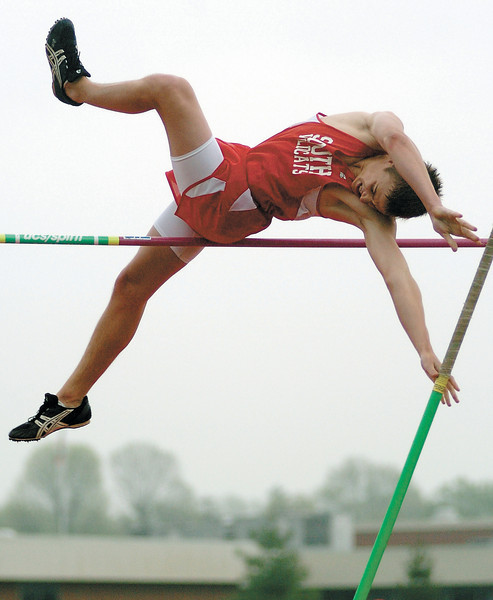 Devin Braun of Westerville South competes in the pole vault during the Wildcat track invitational at Westerville South on Friday.