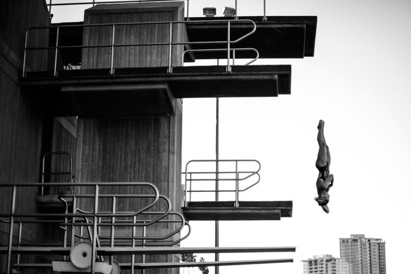 A member of the ASU swimming and diving team practices from the 15m platform during team practices on November 13, 2010 in Tempe, Ariz.