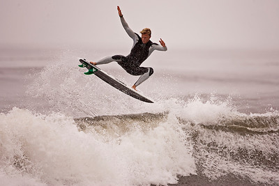 Johnny Craft airs out of a wave while surfing on September 28, 2011 at Moonlight beach in Encinitas, CA.