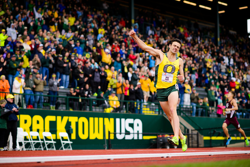 Oregon's Mac Fleet jubilantly pumps his fist into the air after winning the men's 800 meter dash with a time of 1:48.70 at the Pepsi Invitational in Eugene, Ore. on April 6, 2013. Fleet set a new personal record and the second fasted recorded collegiate time this season.