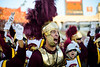 USC mascot Tommy Trojan and the Trojan marching band go wild as their team resurges from a first half 34-17 deficit to the Oregon Ducks by scoring 14 points in the third quarter alone.