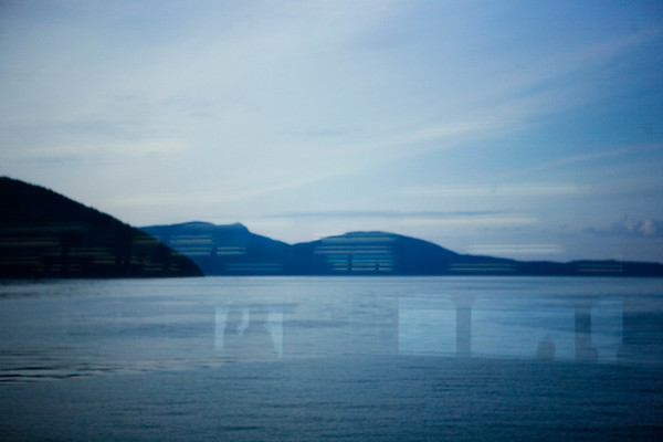 Window reflection on ferry through the San Juan Islands, WA USA