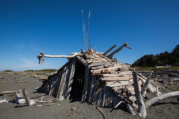 Driftwood shack, Elwha River mouth, Port Angeles, WA USA