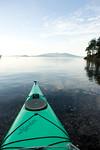 Bow of sea kayak, San Juan Islands, WA USA