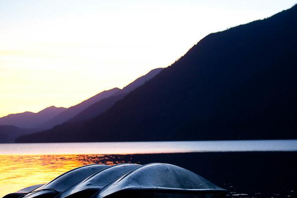 Canoes on shore, Lake Crescent, Olympic NP, WA USA