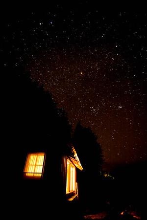 Cabin at night, Whiskey Creek Resort, Joyce, WA USA