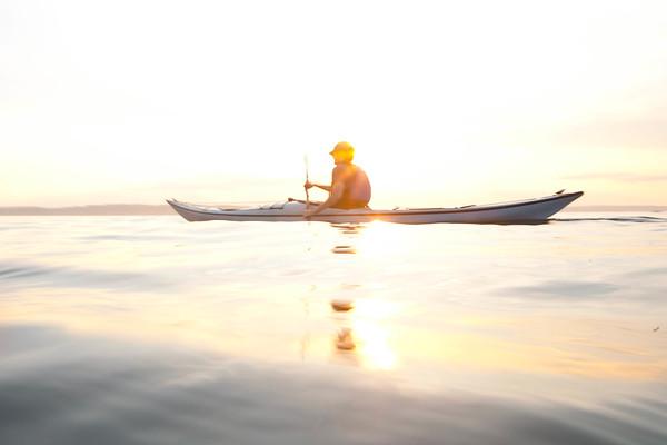 Sea Kayaking in Shilshole Bay on Puget Sound, Seattle, WA USA