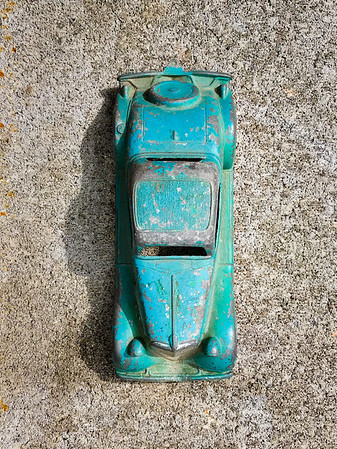 Top view of old antique car