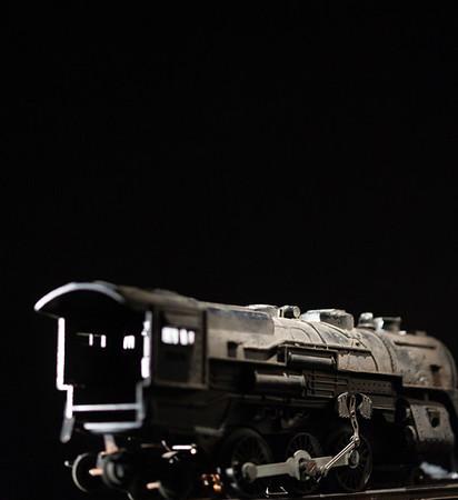 Close-up of toy train, 1940's era