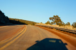Driver's pov of two lane highway in New Mexico, NM USA
