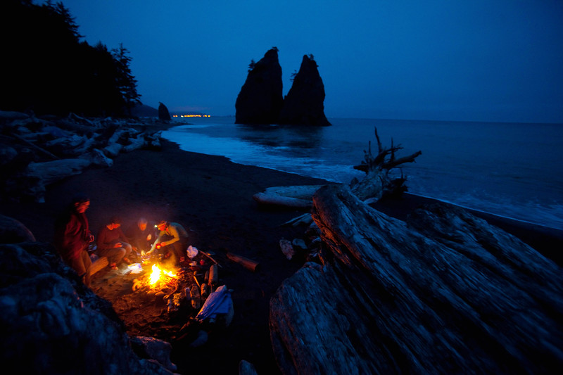Driftwood fire on Rialto Beach near Hole in the Wall, Olympic National Park, WA USA