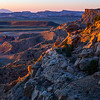 Mussentuchit Badlands sunset wider view, Greater San Rafael Swell, Utah